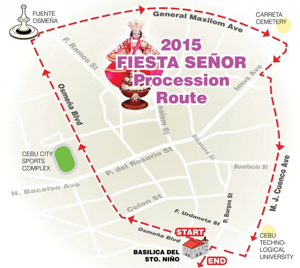 Sinulog 2015 Solemn procession route
